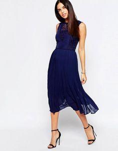 dc363040da79 Warehouse | Warehouse Premium Lace Insert Midi Dress at ASOS Navy Lace Midi  Dress, Navy