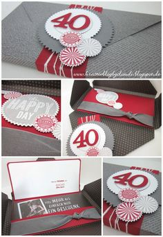 For this reason, wi . Envelope Punch Board, Craft Gifts, Diy Gifts, Diy And Crafts, Paper Crafts, Craft Packaging, Happy 40th, Birthday Wishes Cards, Tutorials