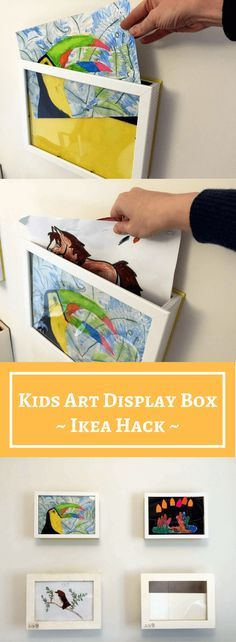 Kids art display box: 10 min hack to store & show your kids art #kidsart #displaybox #ikeahack