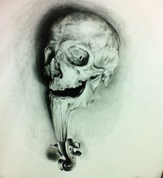 Realistic skull drawing, music dead .