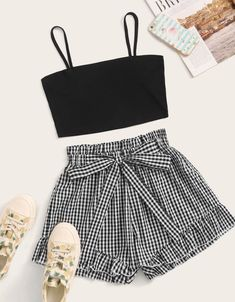 To find out about the Solid Crop Cami Top & Self Tie Gingham Shorts at SHEIN, part of our latest Two-piece Outfits ready to shop online today! Cute Comfy Outfits, Cute Girl Outfits, Cute Summer Outfits, Girly Outfits, Pretty Outfits, Stylish Outfits, Kids Outfits, Girls Fashion Clothes, Teen Fashion Outfits