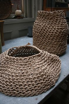 Created by the French design studio Best Before, these baskets are made using hand twisted recycled paper that is then woven into these stunning, sculptural baskets.   Limited edition.