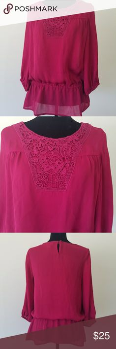 """Ann Taylor Loft Peasant Top Magenta Peasant top by Ann Taylor Loft. Size small. 100% polyester. 17"""" sleeve, 25"""" length, 36"""" bust. EUC. No flaws. I'm a top rated suggested user and love to give great deals. If you have any questions about my items don't hesitate to ask! :) LOFT Tops Blouses"""