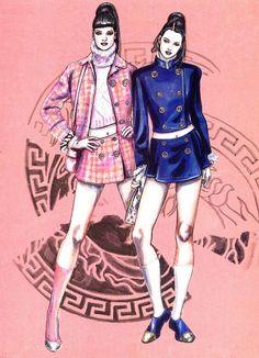 Linda & Kate. Versace sketch Vogue November 1994