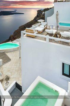 Wonderful sunset experience. Aqua Luxury Suites- Imerovigli. Santorini Photo Safari →