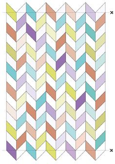 [Herringbone quilt tutorial free make with just two herringbone pairs and solid borders.] Quilt pattern would make a great card. Chevron Quilt Pattern, Jelly Roll Quilt Patterns, Beginner Quilt Patterns, Baby Quilt Patterns, Quilting Tutorials, Quilting Designs, Quilting Ideas, Hexagon Quilt, Block Patterns