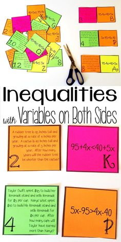My grade math students loved this inequalities with variables on both sides card sort Basic Math Worksheets, Algebra Activities, Maths Algebra, Math Math, Math Multiplication, Math Resources, Math Games, Algebra Help, Guided Math