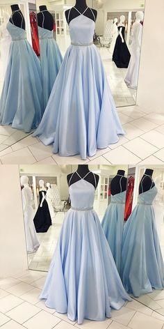 Backless Beaded Prom Dress,Spaghetti A Line Prom Dress,Custom Made Evening Dress,17127#promdress #promgown #prom #dress #gown #longpartydress #charmingpromdress #elegantpromdress #FancyGown #bluepromdress #halterpromgown