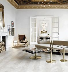 apt in sweden, white with grey and gold elements
