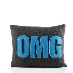 """OMG - recycle felt pillow 10""""x14"""" - more colors available by alexandraferguson on Etsy https://www.etsy.com/listing/194140683/omg-recycle-felt-pillow-10x14-more"""