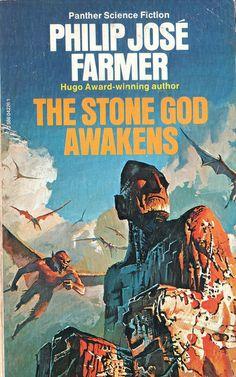 The Stone God Awakens by Philip Jose Farmer - Cover artist Bruce Pennington Fantasy Book Covers, Book Cover Art, Fantasy Books, Fantasy Art, Science Fiction Books, Fiction Novels, Pulp Fiction, Philip Jose Farmer, Classic Sci Fi Books