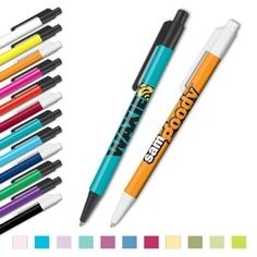 "Personalized Pens - EconoRama Ink Pen    Setup: Free one to three-color imprint     Imprint Area: 2.37"" X .90""   5 lines, 30 spaces and characters per line.     Ink/Point: Black or Blue/Medium Ballpoint Parts: Black or white     Weight:1.8 lbs./100      Production Time: 5 days     Low as $0.38 each"