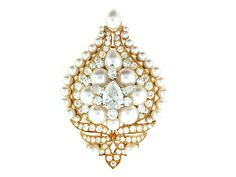 Diamond and Pearl Brooch by Bvlgari in 18K- Beladora Antique and Estate Jewelry