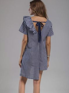 To find out about the Gingham Frill Trim Tie Back Asymmetrical Hem Dress at SHEIN, part of our latest Dresses ready to shop online today! Simple Dresses, Casual Dresses, Short Sleeve Dresses, Cheap Dresses, Frock Fashion, Fashion Dresses, Checkered Outfit, Dress Sewing Patterns, Blouse Dress