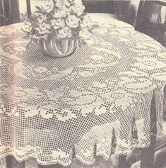Vintage Crochet Pattern PDF for Filet Flower Tablecloth Instant Download Crochet Round, Filet Crochet, Diy Crochet Tablecloth, Pineapple Crochet, Give It To Me, How To Make, Digital Pattern, Bedspread, Vintage Crochet