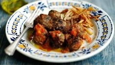 The only meat I love. Spicy lamb albondigas: Spanish meatballs served with crispy patatas fritas Lamb Mince Recipes, Meatball Recipes, Meatball Stew, Fritas Recipe, Spanish Meatballs, Beef Skewers, Albondigas, The Best, Spicy