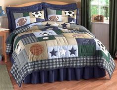 Sports Collage Boys Sports Themed Bedding by My World is perfect for the little boy who has a broad interest in a variety of sports from football to soccer to basketball. This boys sports themed bedding starts with a quilt on a tan, green, light blue, and blue patchwork background full of embroidered soccer ball, basketball, football, and baseball patterns