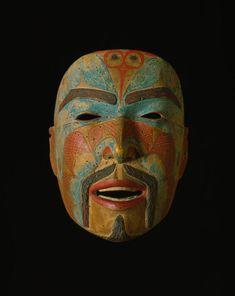 Ancestor mask, Canada, 1840-1860. Wood, paint, plant fiber.