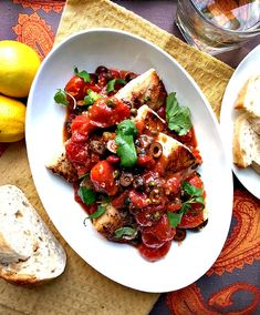 Halibut a la puttanesca, a healthy Italian dinner ready in under 30 minutes