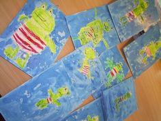* Kikker van wasco met ecoline eroverheen Frog Theme Preschool, Picnic Blanket, Outdoor Blanket, Preschool Lessons, Winter, Crafts, Superheroes, Winter Time, Manualidades