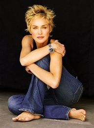 Sharon Stone in blue #denim #jeans