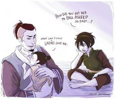 Airbender: All Grown Up - Sokka, Toph and Lin (Sokka and Toph are friends/Lin is Toph's daughter)