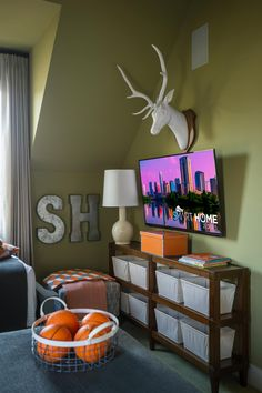 More rustic storage is included in this room plus a 50-inch TV for rainy day movie marathons. --> http://www.hgtv.com/design/hgtv-smart-home/2015/kids-bedroom-pictures-from-hgtv-smart-home-2015-pictures?soc=smartpin