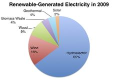 According to the Energy Information Administration (EIA), Americans used renewable energy sources - solar, geothermal, biomass waste, wood, wind and hydroelectric - to meet about 8% of our total energy needs in 2009.
