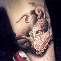 Damn I love octopuses so I got one tattooed on my leg today. #tattoos #octopustattoo #sandiego @bonesart