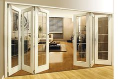 folding french doors interior - want these for my living room that opens on to the deck. Home, Folding French Doors, Interior Barn Doors, French Doors Interior, Interior, New Homes, House, Wood Doors Interior, Folding Doors