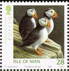 Stamp: Atlantic Puffin (Fratercula arctica) (Isle of Man) (Manx Birds) Mi:IM 1285 Uk Stamps, Postage Stamps, Farne Islands, Puffins Bird, Wild Creatures, Sea Birds, Stamp Collecting, Bird Art, Beautiful Birds