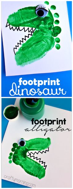 Alligator and Dinosaur footprint crafts for kids! Easy art project! | CraftyMorning.com