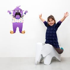 Meet George the Mustache Monster- Wall decal and Hanger! Wall Stickers, Wall Decals, Wall Art, Wall Hanger, Hangers, Kids Wall Decor, Baby Up, Make You Smile, Dinosaur Stuffed Animal