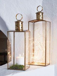 Elegant Brass and Glass Lanterns