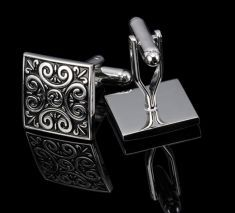 Butoni patrati argintii cu negru Cufflinks, Wedding Cufflinks