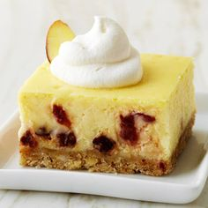 Cherry-Almond Cheesecake Bars - Use a sugar substitute in place of sugar in this recipe to bring the carb count down to 9 grams.
