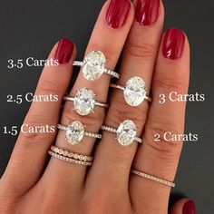 Oval carat comparison 3 carats is the perfect size Engagement Ring Carats, Dream Engagement Rings, Perfect Engagement Ring, Antique Engagement Rings, Wedding Engagement, Oval Halo Engagement Ring, 3 Karat, Ring Verlobung, 5 Carat Diamond Ring