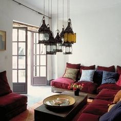 Love the lamps;    La Maison Boheme: Sofas I'd Like to Make Out With