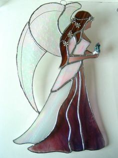Large Pink Guardian Angel stained glass suncatcher window hanging healing flower | eBay