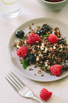Berry + Quinoa Salad with Fresh Herbs and Feta // A Thought For Food