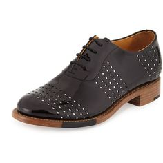 The Office of Angela Scott Mr. Smith Perforated Patent Oxford ($525) ❤ liked on Polyvore featuring shoes, oxfords, domino, patent leather oxfords, perforated shoes, round cap, stacked heel shoes and lace up oxfords