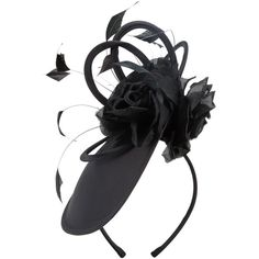 Phase Eight Bronte Silk Flower Disc Fascinator ($72) ❤ liked on Polyvore featuring accessories, hair accessories, black, hair band accessories, phase eight, flower hair accessories, flower headwrap and feather fascinator