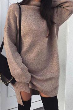 Women Casual High Neck Long Sleeve Sweater Dress - Brown, S Casual Sweaters, Long Sweaters, Winter Fashion Casual, Casual Fall, Winter Style, Casual Party, Women's Casual, Casual Summer, Vestido Casual