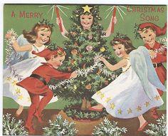 Unused Vintage Sunshine Christmas Card -Children in Christmas Costumes
