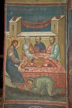 Christ in the House of Simon, century, Dečani monastery, Serbia (courtesy… Byzantine Icons, Byzantine Art, Religious Images, Religious Art, Religion Catolica, Life Of Christ, Religious Paintings, Best Icons, Mary Magdalene