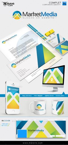 Corporate Identity - Market Media $11  Clean and modern communication Corporate Identity, to match the demanding target audience that internet can assure, to establish the high goals your business is aiming.   FORMAT: PSD / CMYK / 300 DPI  -bleed area.  -full layers.   INCLUDE:  Paper A4  Phone wallpaper  Computer wallpaper Business Card  Pencil/Pen  FB cover (2sizes)  Cup  Envelope.  Resizable Logotype.