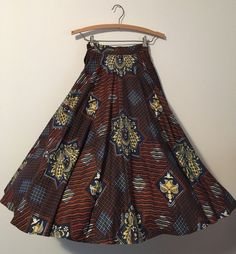 Vintage Novelty print CIRCLE Cotton skirt 1950s Partridge Polka dot Earth tones #Handmade