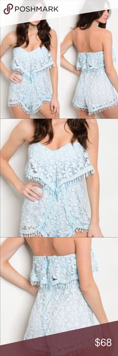 💋JUST IN💋Brooklyn's Blue Crochet Romper Crocheted lace is on trend this season and this powder blue romper is hot property. Made of 65% cotton & 35% polyester. This summer ready Romper is exquisitely designed with built in cups and stretch band in the back with a zip closure. Peekaboo opening in the back between the top zipper and bottom zipper. Crochet covers the peekaboo. Entire piece is lined from bodice to bottom. Beautiful tear drops line the hem. Team up with nude heels and a clutch…