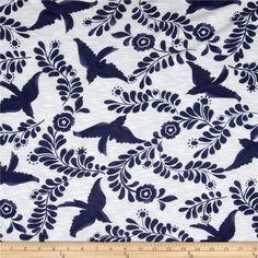 Designer Slub Rayon Jersey Knit Birds Blue/White