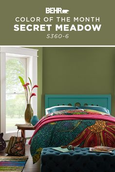 For a wall color that really pops, turn to our Color of the Month: Secret Meadow. This calming shade of green is a colorful addition to this boho-chic bedroom. Ready to add it to your own home? Click below for full color details to learn more. Decor, Behr Paint Colors, Focal Wall, Home, Paint Colors For Home, Color, Seaside Decor, Behr Colors, House Colors